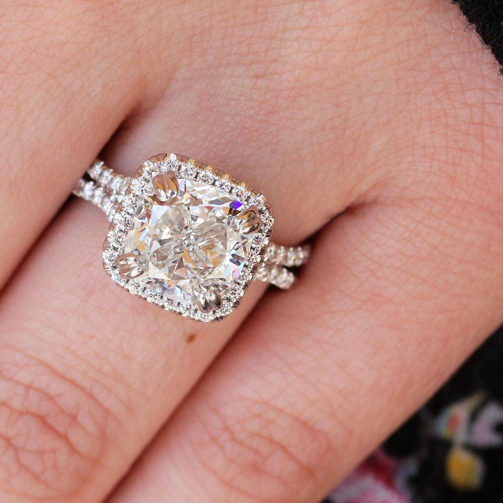 GIA Flawless 2.00 Ct Cushion Cut Diamond Engagement Ring Split Shank ...
