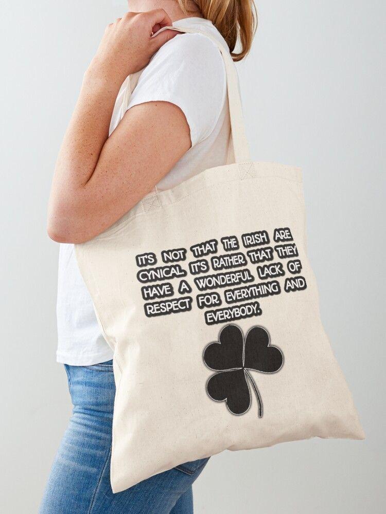 'St Patrick's Day Funny Irish Brendan Behan Quote &  Shamrock Design' Cotton Tote Bag by Raglan-Rose