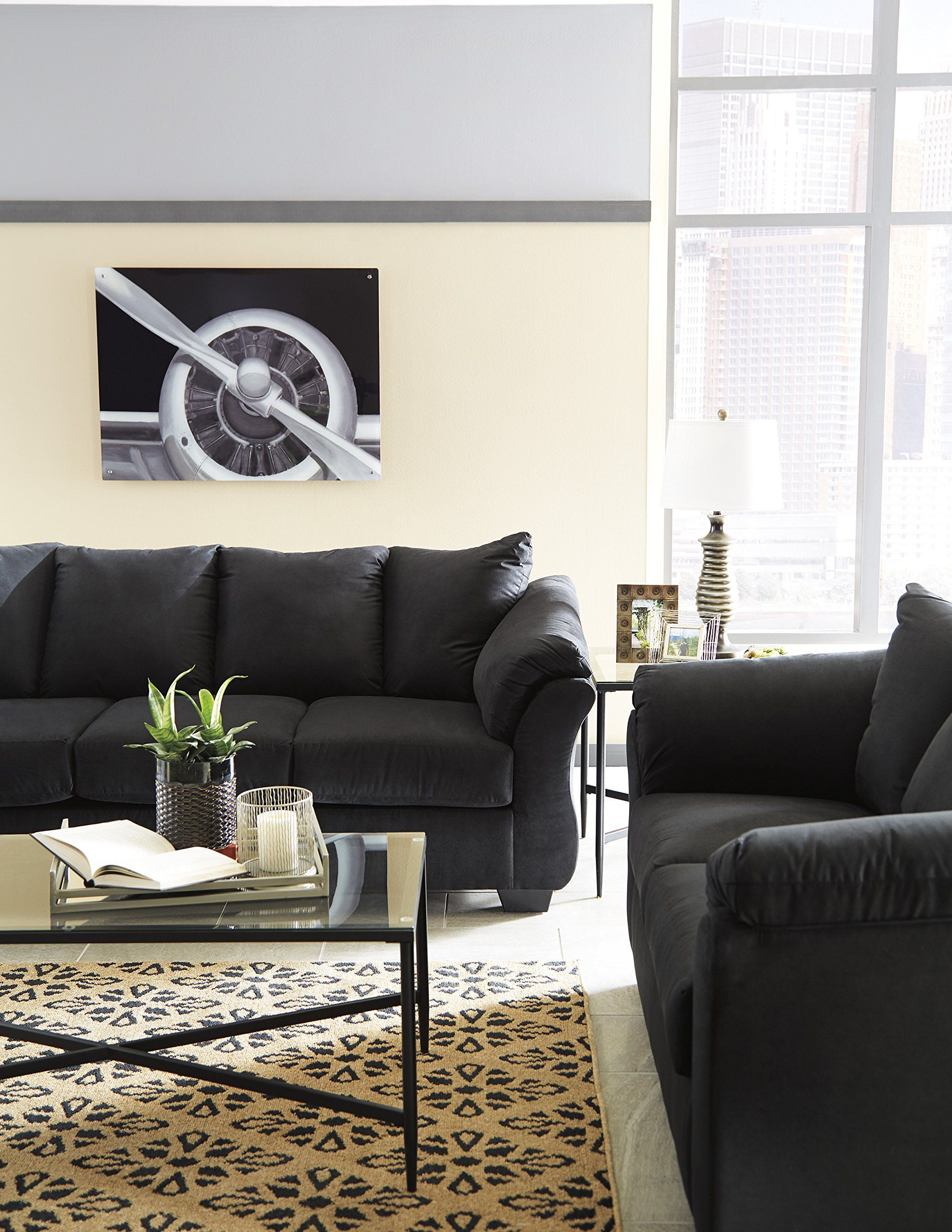Darcy Contemporary Black Color Microfiber Sofa Click Photo To Review Even More Details This Is An Affiliate Link Couch