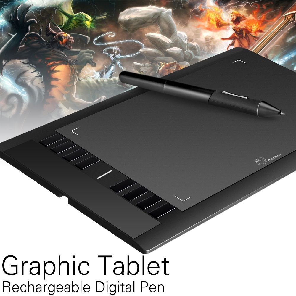 Parblo A610 Art Digital Graphics Drawing Painting Board w// Rechargeable Pen