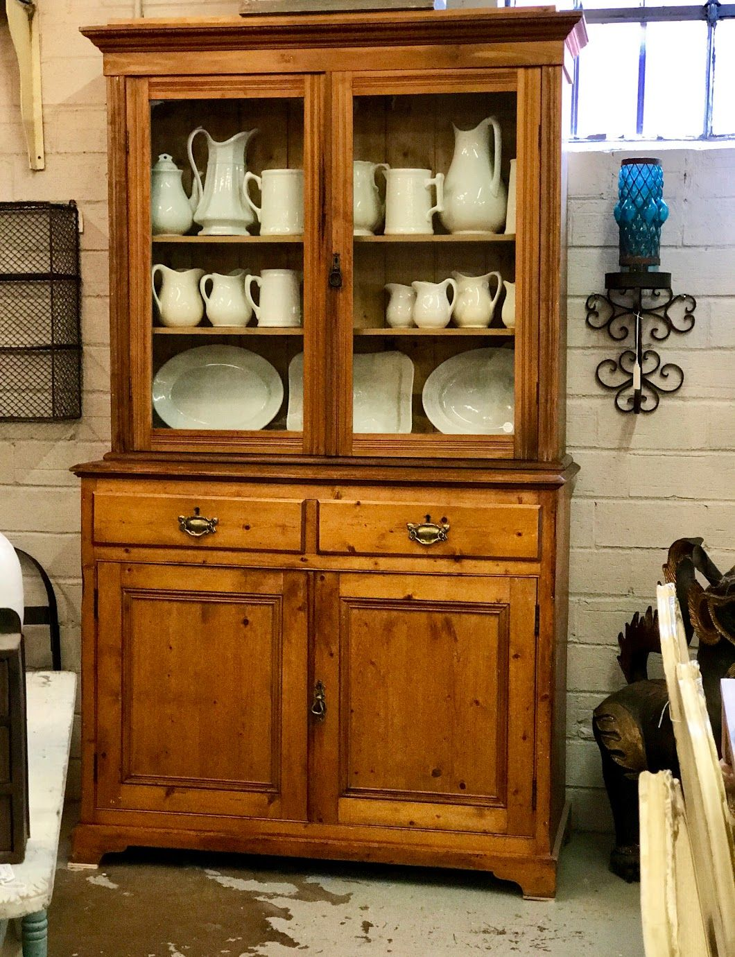 two piece pine cabinet 50 wide x 20 5 deep x 85 high on country farmhouse furniture id=68952