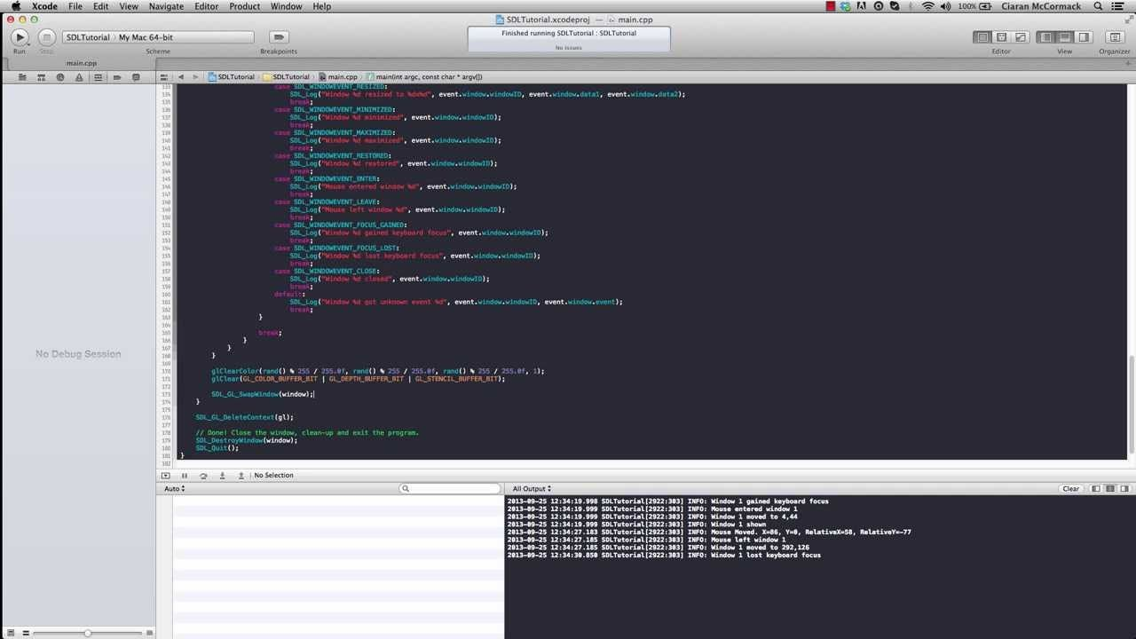 SDL 2.0 on OSX using XCode, OpenGL 3.2 and C++ 11 The