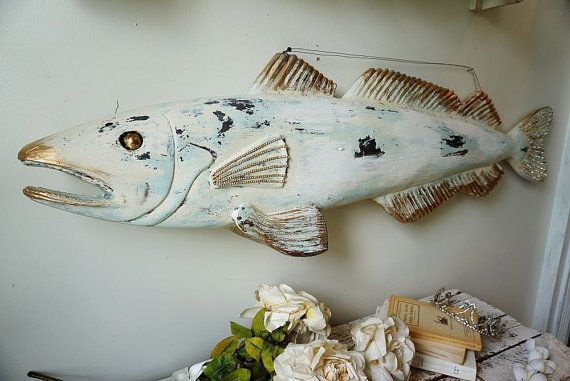Wood carved fish wall hanging hand carved by AnitaSperoDesign