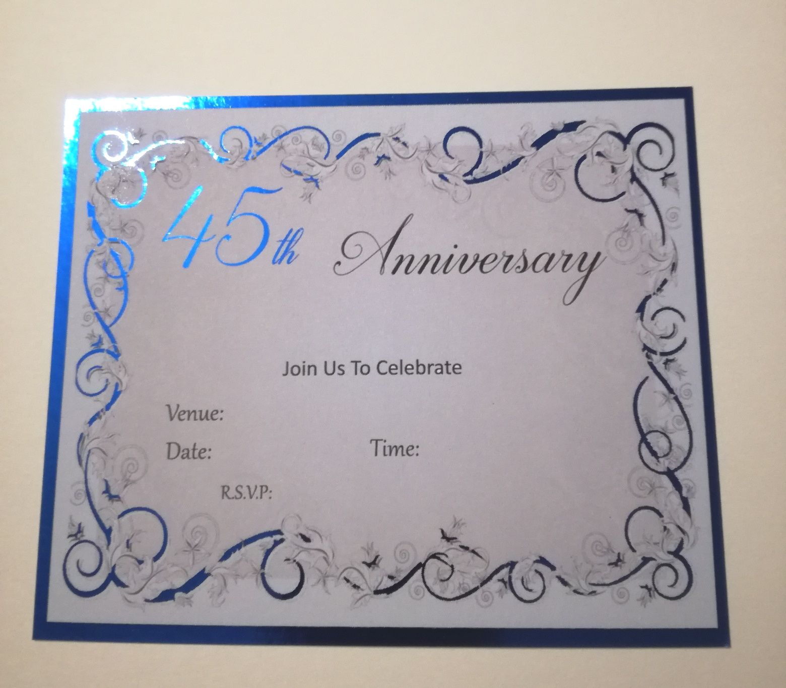 20 x 45TH WEDDING ANNIVERSARY PERSONALISED FOILED