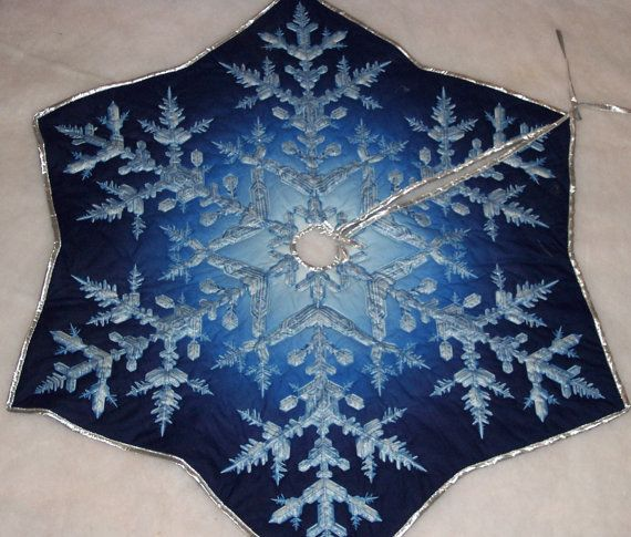 blue snowflake tree skirt by moircountrysewing on etsy 6995 christmas - Christmas Tree Skirts Etsy