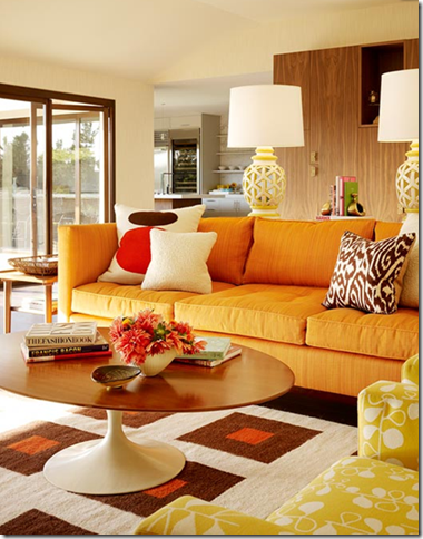 retroinspired living room with orange sofa by designer palmer - Orange Living Room Design