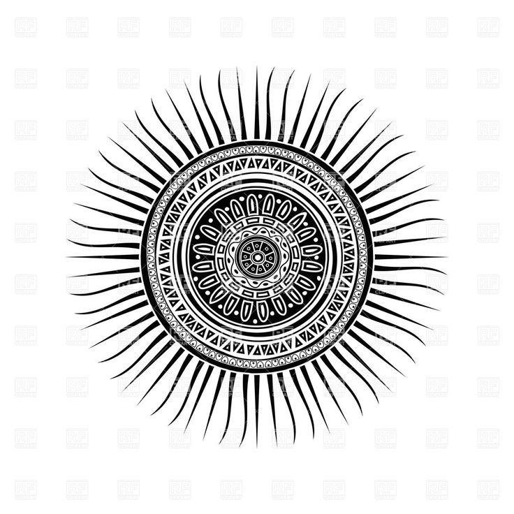 Mayan Sun Symbol Round Tattoo Ornament 28184 Download Royalty