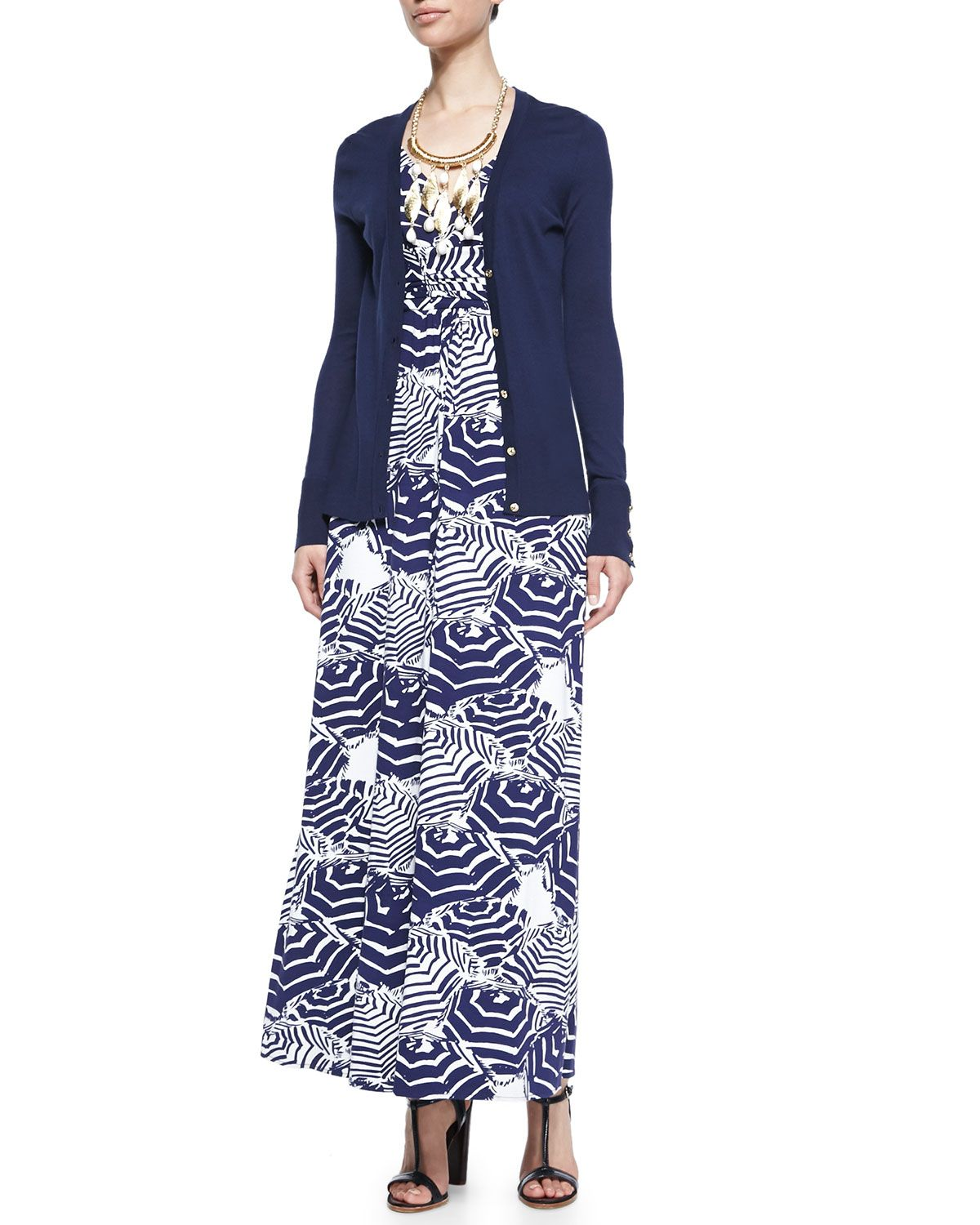 Lilly Pulitzer Kennedy V-Neck Cardigan, Sloane Printed Maxi Dress ...
