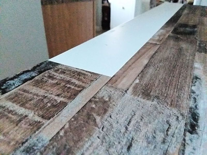 Make A Faux Wood Countertop With Peel And Stick Wallpaper