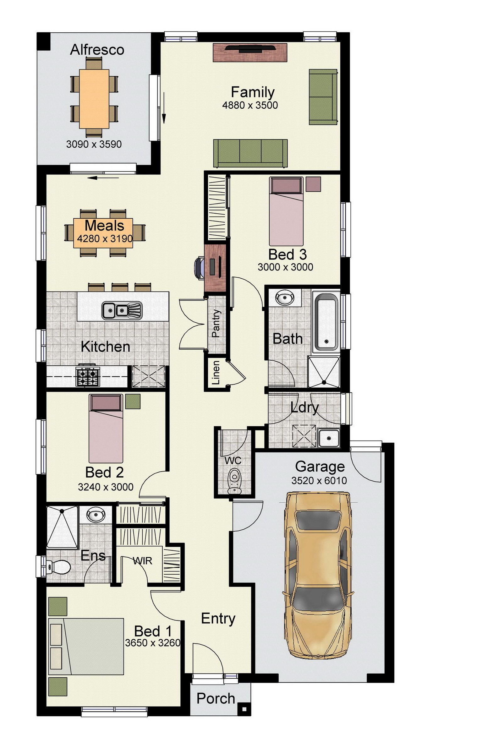 The Primo 162 is a narrow design with modern amenities for first home buyers.