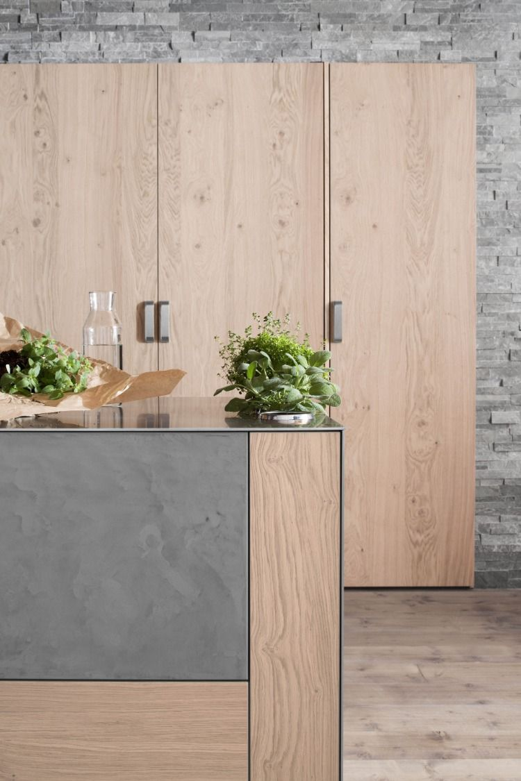 Belle cuisine dans la tendance bois et béton images