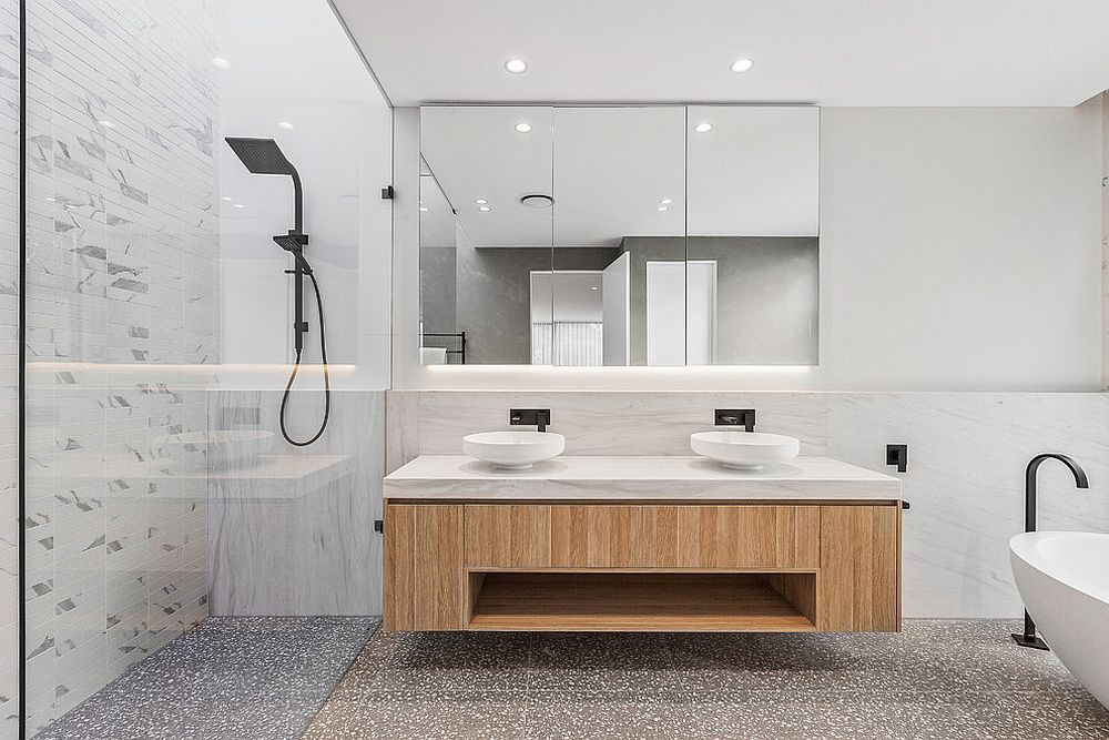 Simple Floating Wooden Vanity For The Bathroom In White From First Avenue Homes Modern White Bathroom White Bathroom Eclectic Bathroom