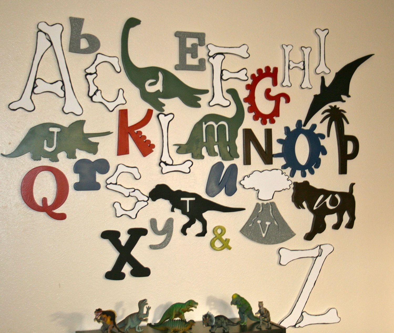 Wooden Alphabet Set, Dinosaur Letters, Wood Letters, UNFINISHED,