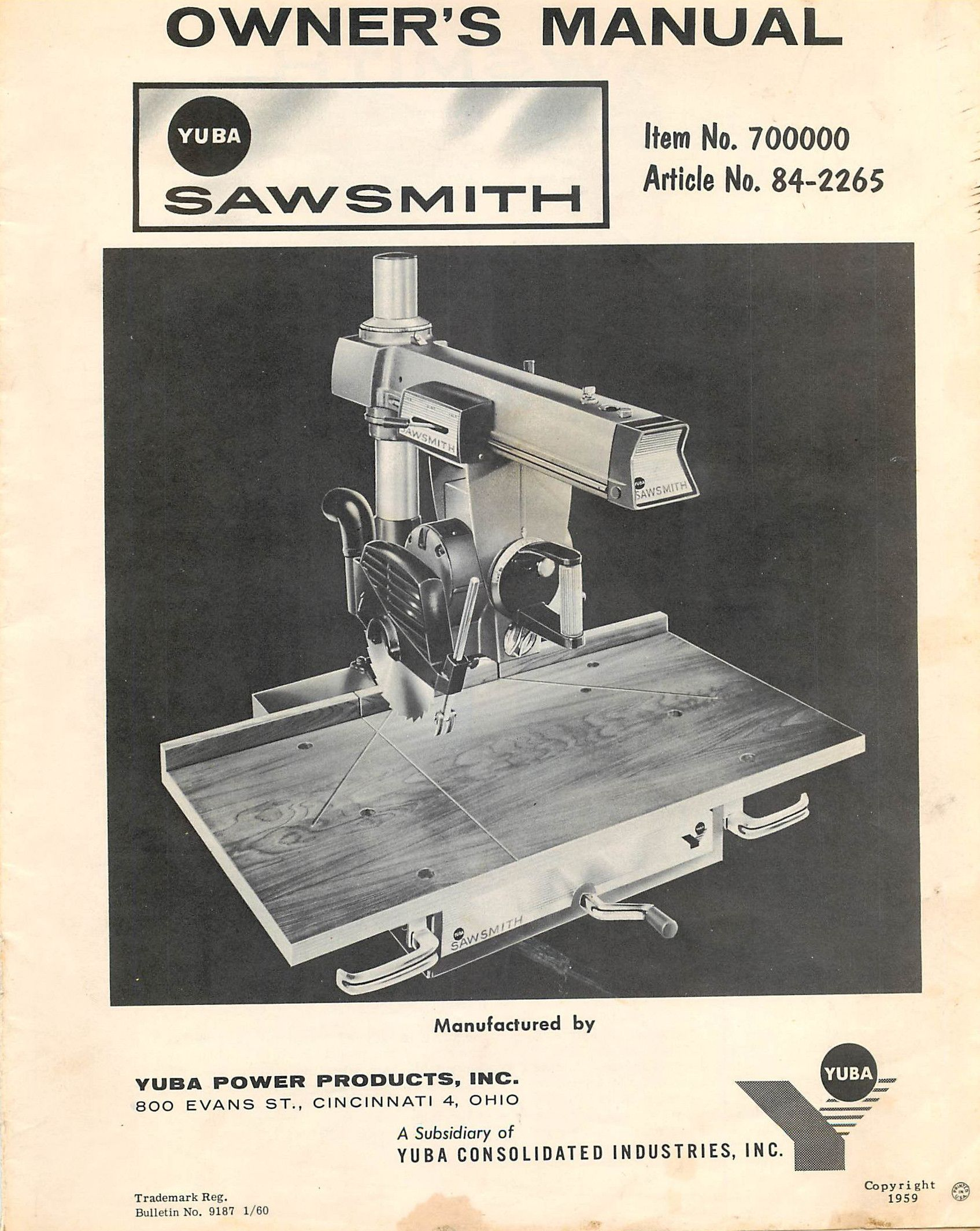 Sawsmith Radial Arm Saw Owners Manual and Assembly Instructions