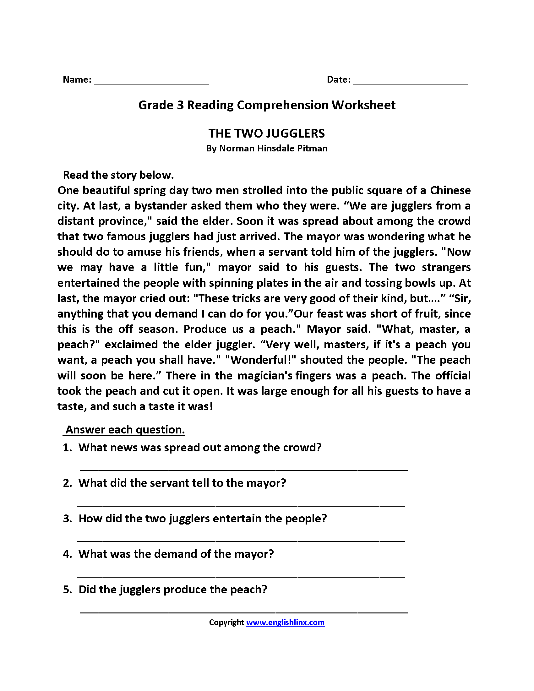 Two Jugglers Third Grade Reading Worksheets