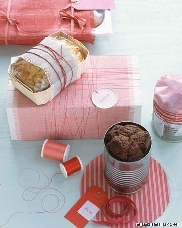 Pretty Wrapping Ideas from Martha Stewart for wrapping breads. Ideas such as giving muffins in the tin they were baked in to baking bread in a can and gifting it. Recipes available for quick breads to bake.