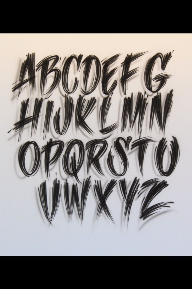 Airbrush Lettering Font Rough Edged Caps Tattoo Lettering
