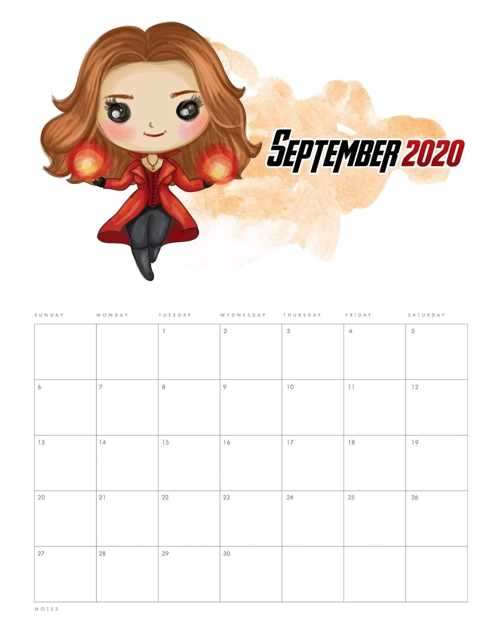 2020 September Calendar Cute in 2020 Avengers, Free