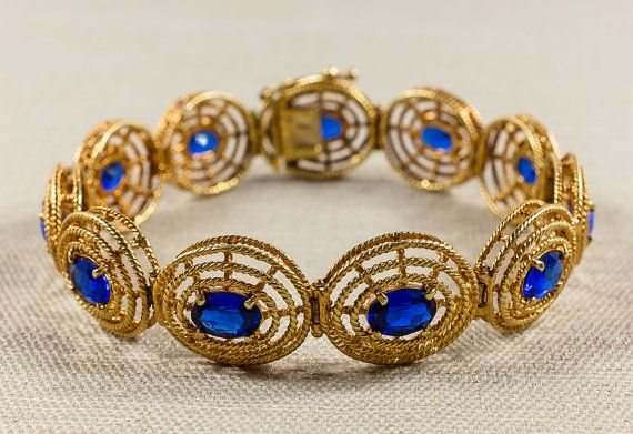 Vintage 1970s 18K Yellow Gold Synthetic Blue Sapphire Oval Statement Link Bracelet 24.9 grams $1,499.00