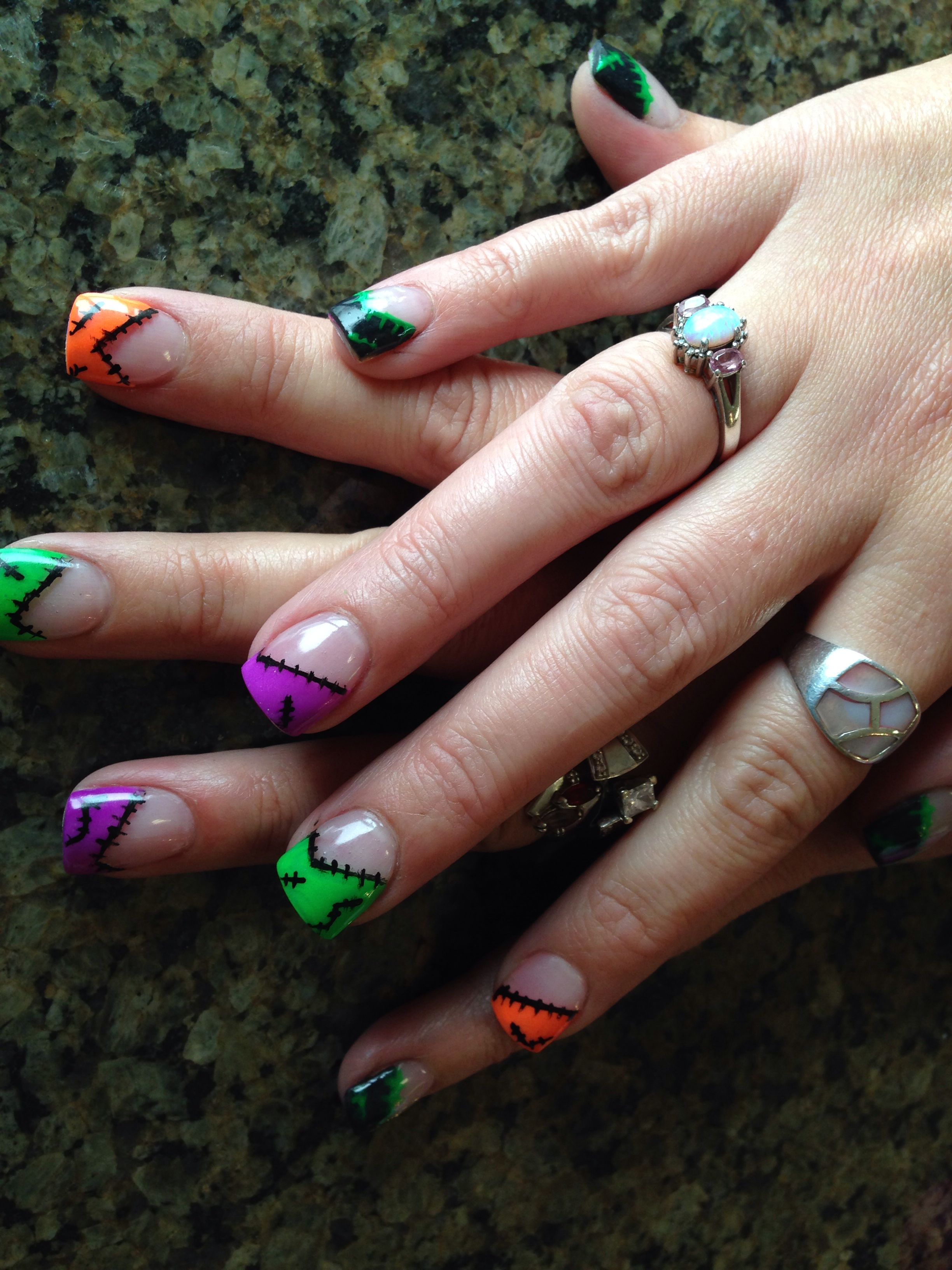 Halloween nail art ... replace the black with neon pink ...