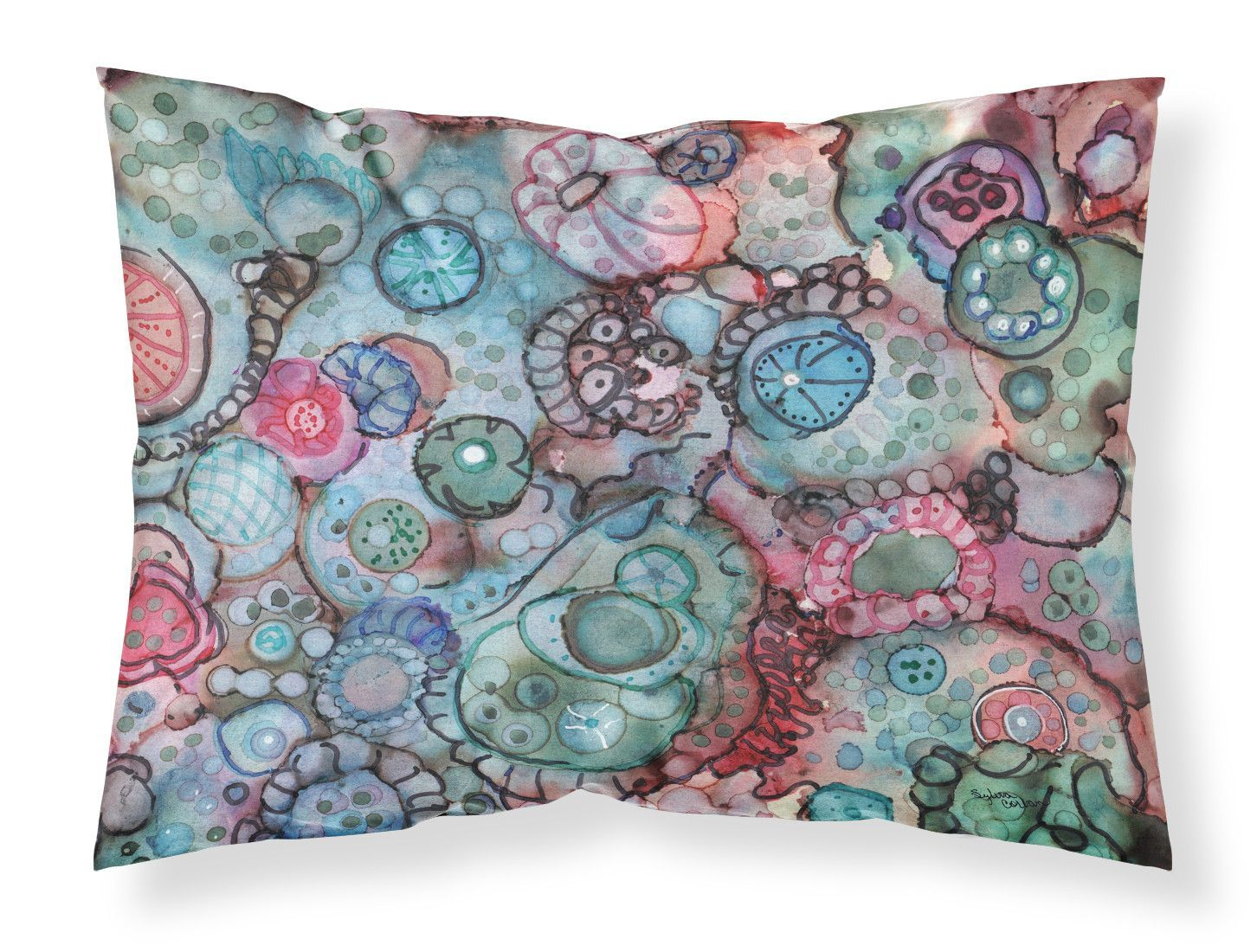 Abstract in Reds and Blues Fabric Standard Pillowcase 8982PILLOWCASE