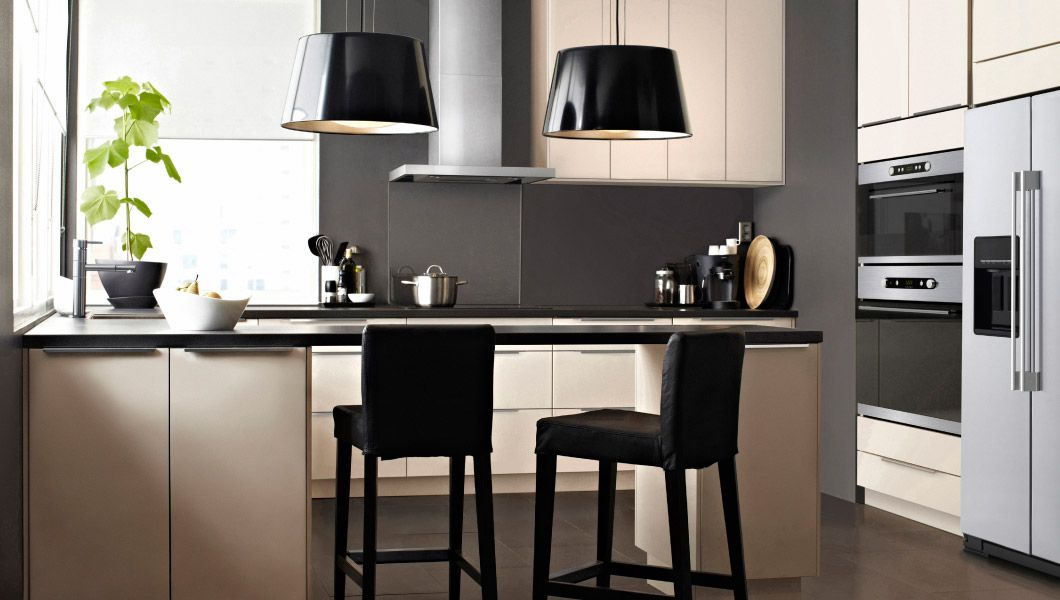 Horseshoe kitchen with bar stools love these cabinets and the modern feel maybe a different - Table bar cuisine ikea ...