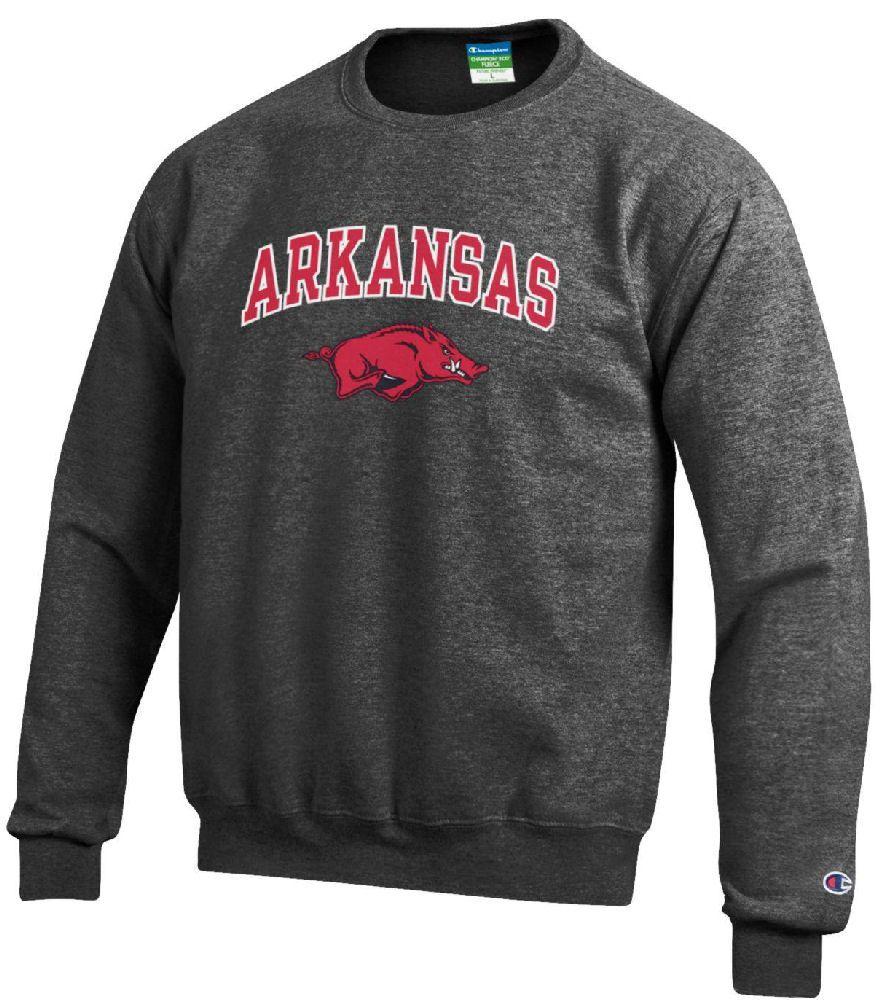Arkansas Razorbacks Granite Heather Champion Campus Powerblend Screened Crew Sweatshirt Sweatshirts Mens Sweatshirts Crew Sweatshirts [ 1000 x 880 Pixel ]