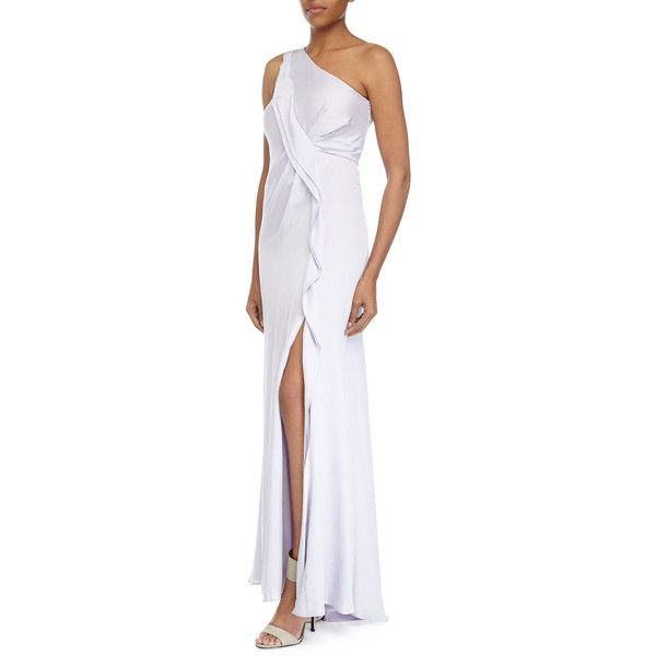 Escada One Shoulder Asymmetric Ruffle Gown 668 Liked On Polyvore Featuring Dresses Gowns Lotus Silk Evening Sleeve Dress