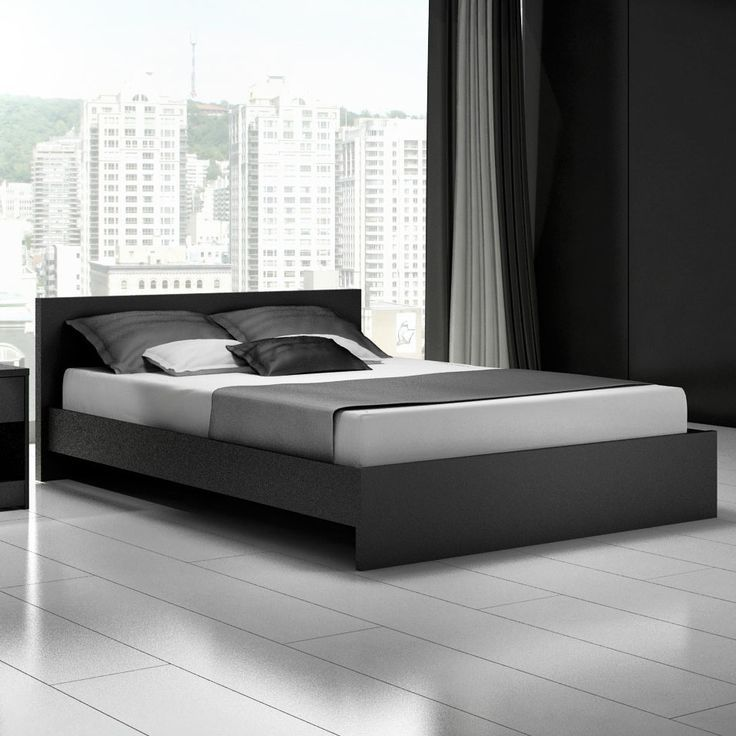 Modern black queen platform bed frame cool designs bed - Cool queen bed frames ...
