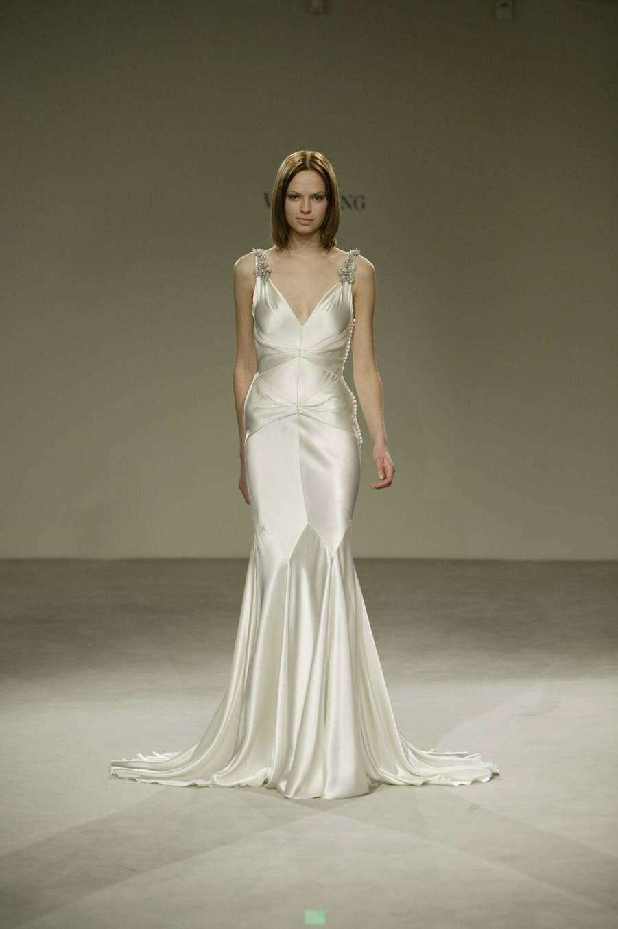 vera wang v neck silk old hollywood wedding dress