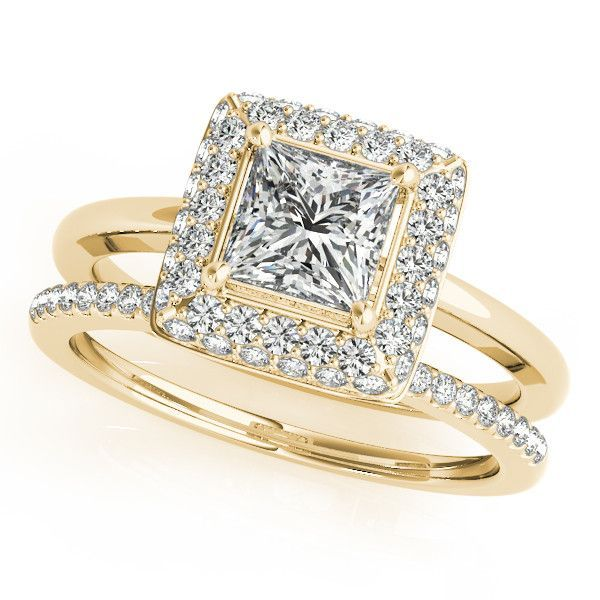 Wedding Set Princess Cut Bezel Set Diamond Halo Engagement