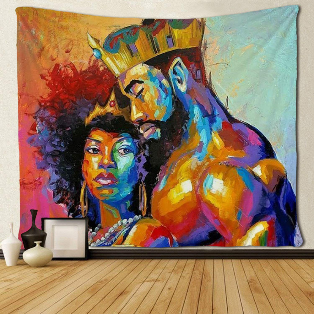 Amazon Com Sara Nell Tapestry African American Lovers Couple Oil Painting Tapestries Wall Art Hippie Bed Tapestry Wall Art Wall Tapestry African Decor Bedroom