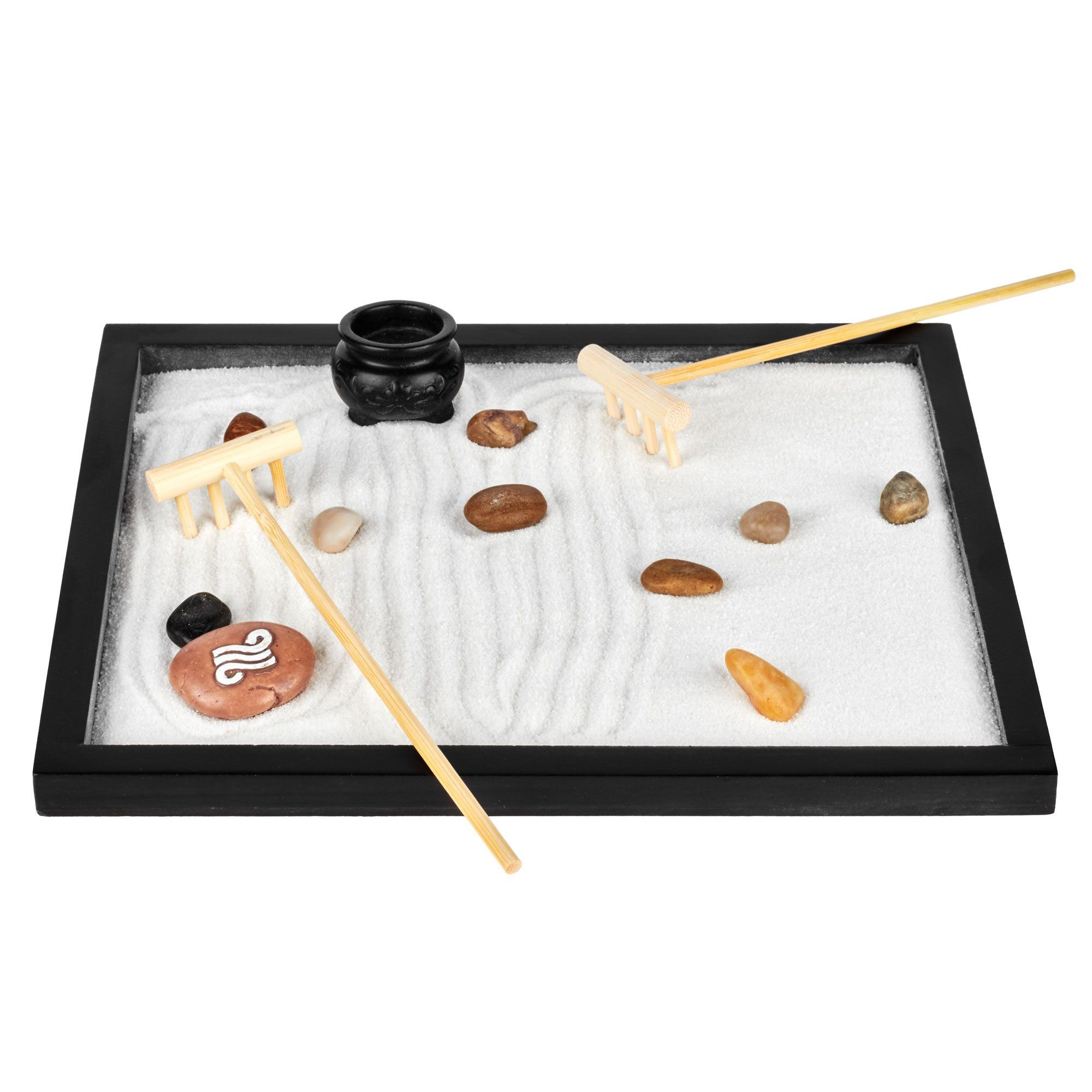 Tabletop Relaxation Meditation Landscape Kit Zen Sand Garden for Desk /& Office Decor Wood Base 2 Bags White Sand 2 Mini Bamboo Rakes Clay Incense Pot Small Decorative Rocks /& Large Painted Rock