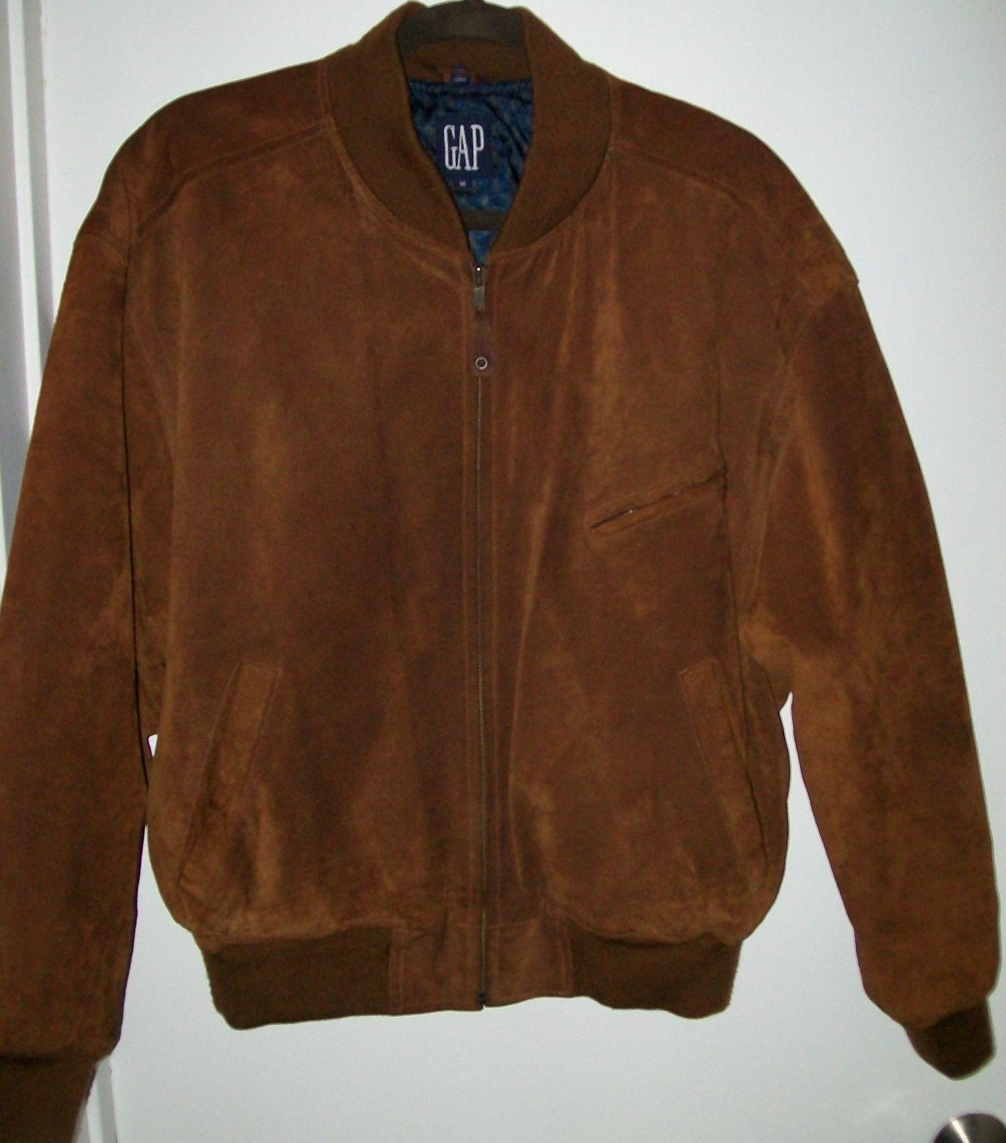 Mens Vintage The Gap Caramel Brown Suede Baseball Jacket Size ...