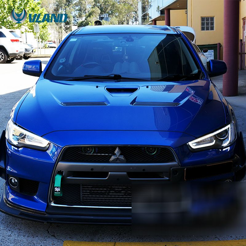 The Item Is Vland Mitsubishi Lancer Head Lamp The Color Is Black Housing Vland Carlamp Ledheadla Mitsubishi Cars Mitsubishi Lancer Evolution Mitsubishi Evo