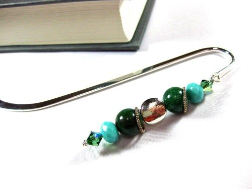 Handcrafted Silver Bookmark with Aventurine and Swarovski Crystals | TheTwistedRedhead - Paper/Books on ArtFire