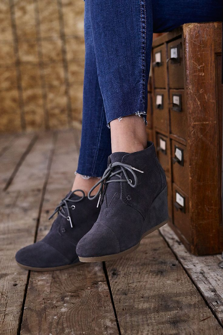 3e6cd26d8e8 Bootie season is here! Get prepared with these comfortable Grey Desert  Wedges from TOMS.