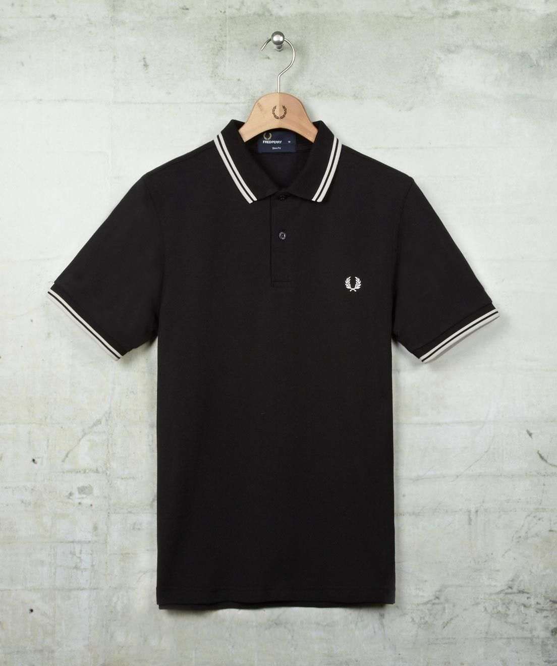 """Black/Porcelain/Porcelain"" Slim Fit Twin Tipped Fred Perry Shirt"