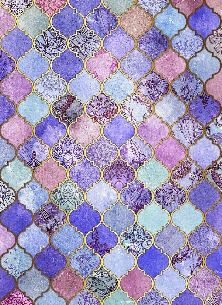 Decorative Tile Patterns Royal Purple Mauve & Indigo Decorative Moroccan Tile Pattern