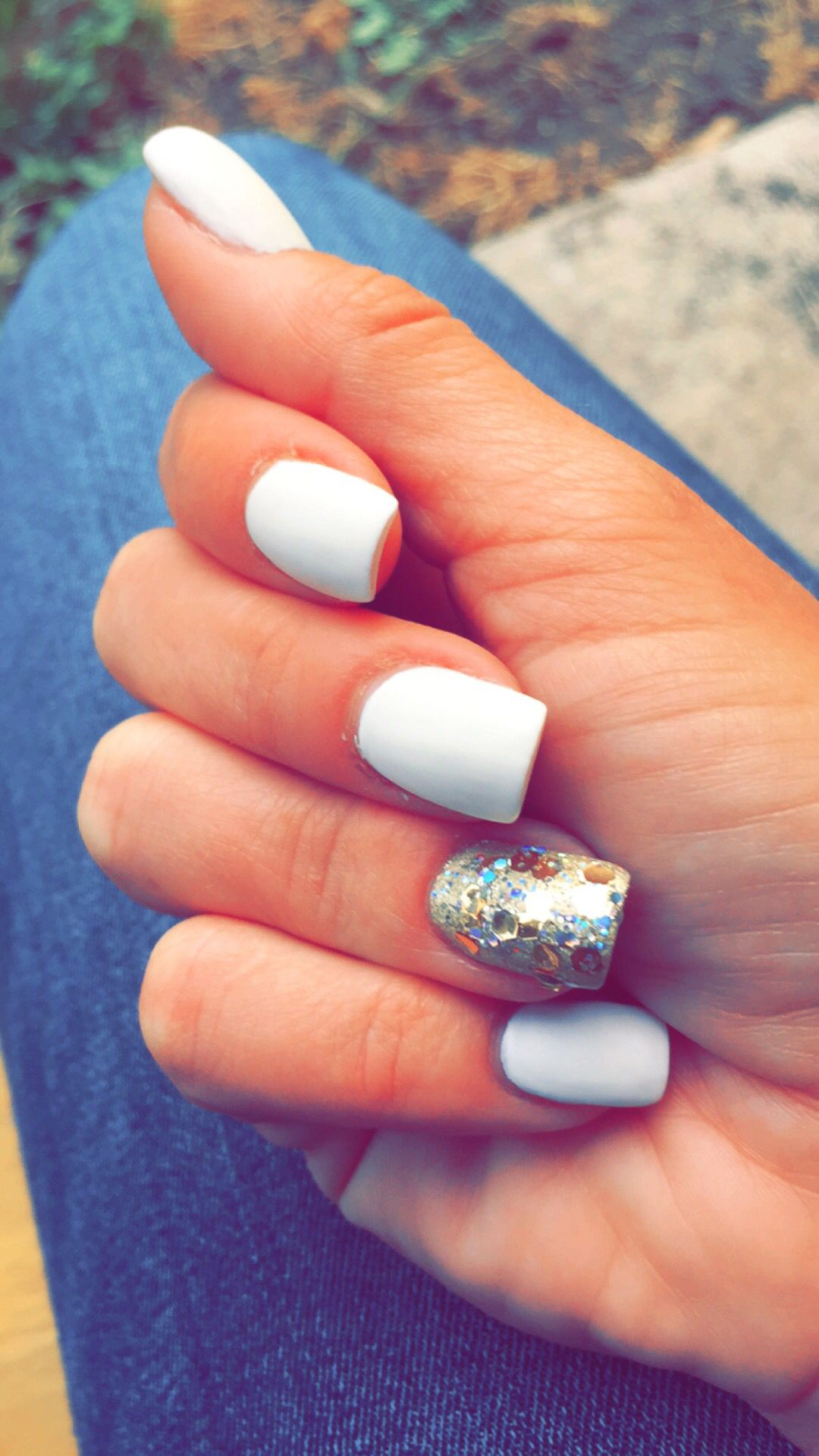 White Matte Acrylic With Gold Glitter Accent Nail