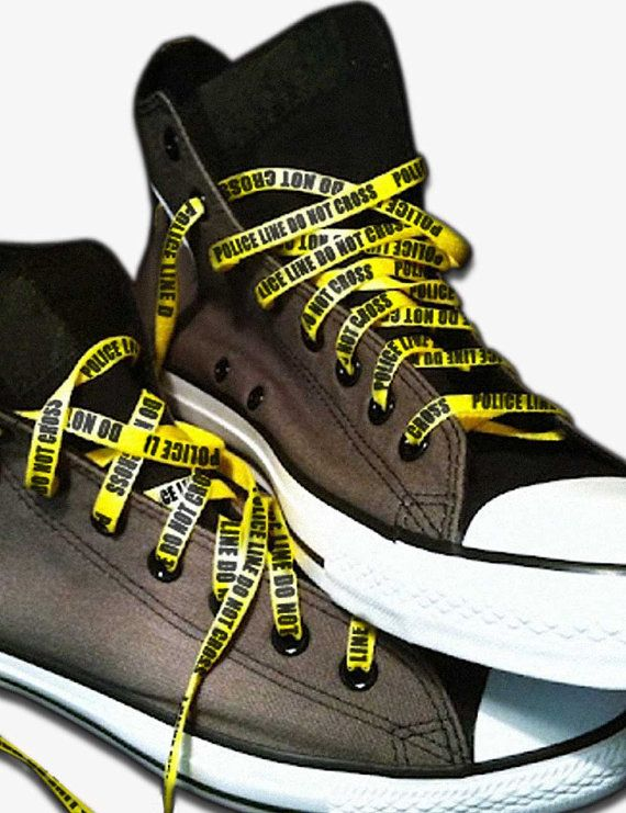 fea59f455abe Police Line Do Not Cross shoe laces Yellow Bright Funky shoelaces. These  would be perfect for Izzy and her batman stuff!