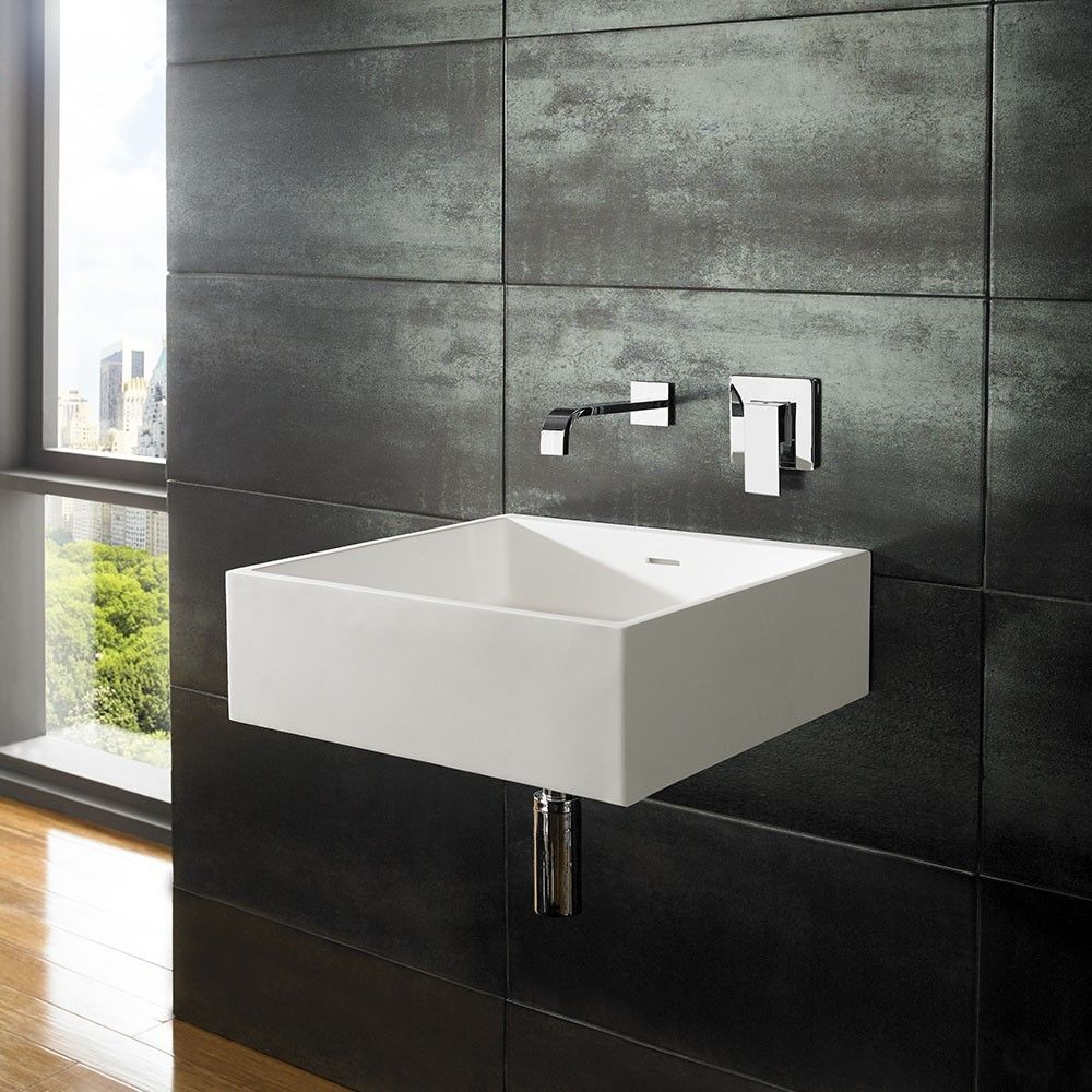 Large Wall Hung Bathroom Basin Square In White Stone Resin 465mm Square Sink Alto Square Sink Wall Mounted Basins Wall Mounted Taps