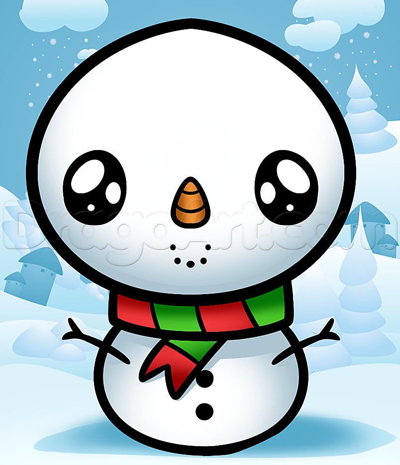 How To Draw A Kawaii Snowman by Dawn Kawaii christmas