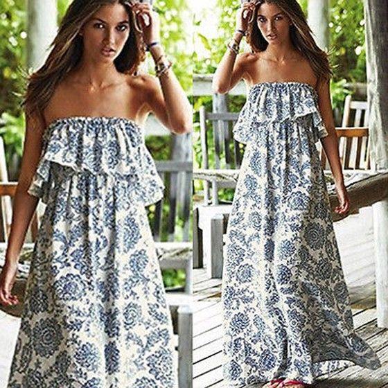 f387bca8bd1 White Floral Bandeau Ruffle Strapless Vintage Sleeveless Beach Sexy Maxi  Dress - Maxi Dresses - Dresses