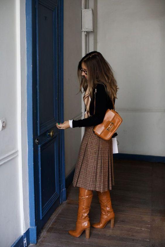 Parisian Bourgeoisie Style: Midi Skirt, Tall Boot, Add a Sweater or Silk Scarf