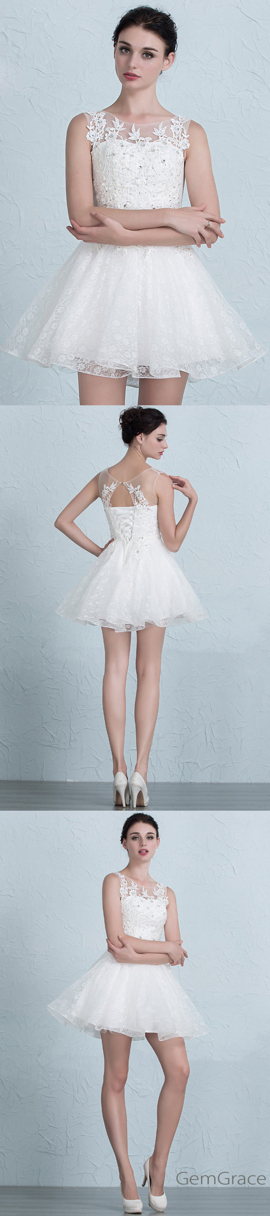 Fine Short White Wedding Reception Dress Adornment - All Wedding ...