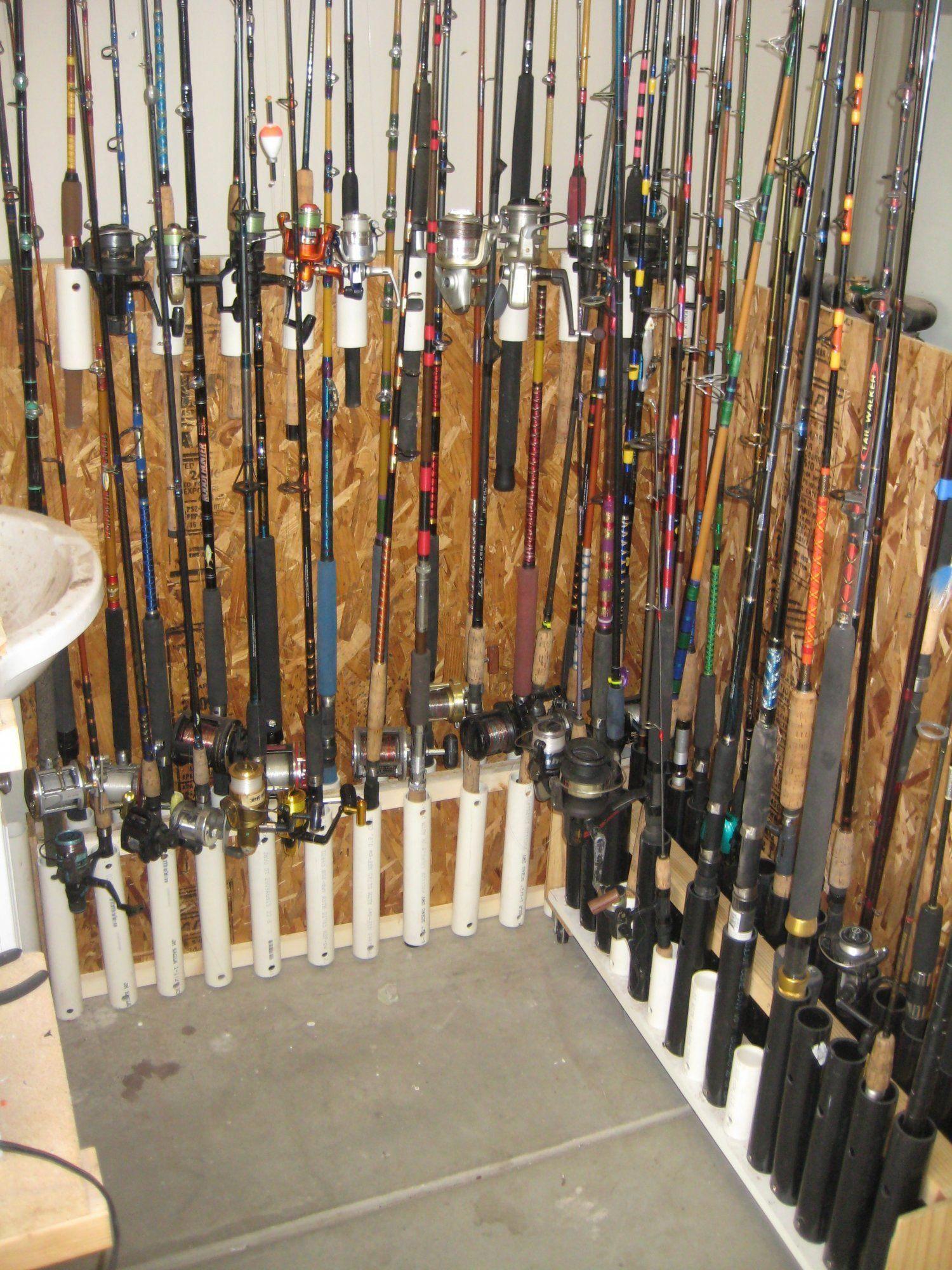 fishing garage gear rod storage rack pole tackle holder pvc organized hacks boat holders plans california organization truck saltwater idea