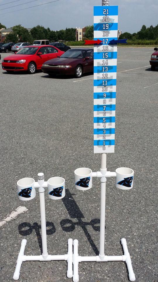 Pvc cornhole scoreboard with pvc drink holder