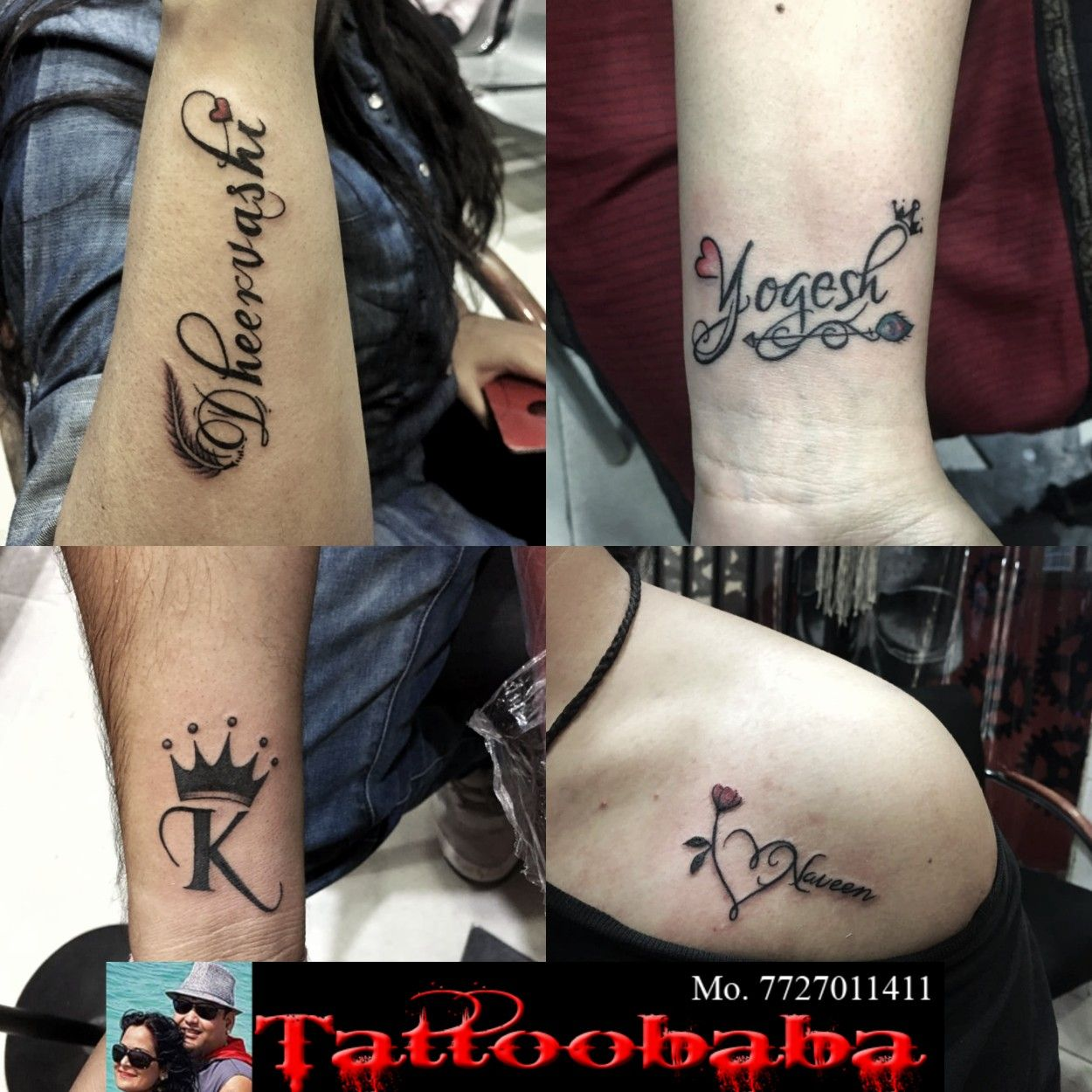 Some small writing tattoos done at tattoobaba contact