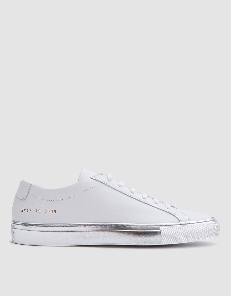 966441ae0298 Woman by Common Projects Achilles Low with Colored Sole in White Silver